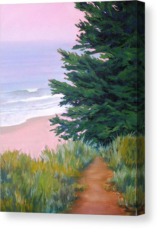 Ocean Canvas Print featuring the painting Above The Beach El Capitan by Dorothy Nalls