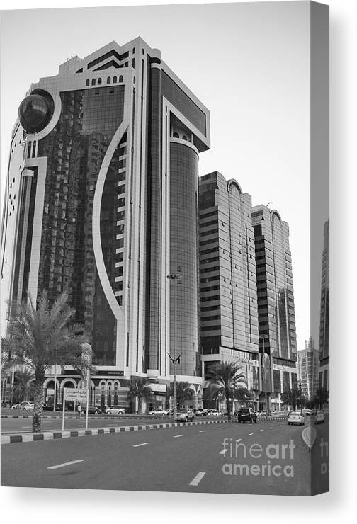 Al Durrah Tower Canvas Print featuring the photograph Al Durrah Tower - Sharjah by Hussein Kefel