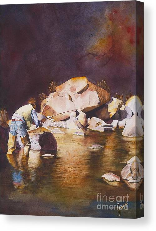Fly Fisherman Canvas Print featuring the painting Anticipation by Jany Schindler