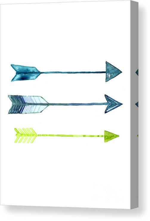 Arrow Canvas Print featuring the painting Arrows Watercolor Art Print by Joanna Szmerdt