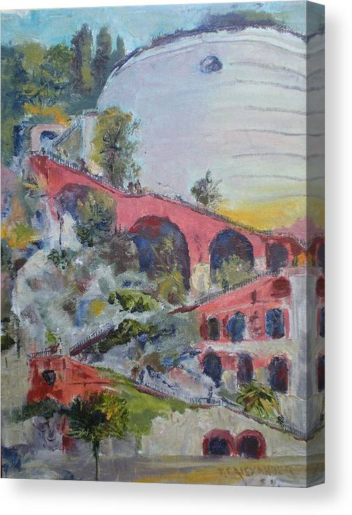 Historical Stairway To The Fort Chateau In The Port Of Nice Canvas Print featuring the painting Assenseur Du Chateau by Bryan Alexander