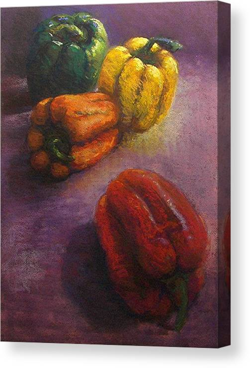 Orange Canvas Print featuring the painting Assorted Peppers by Tom Forgione