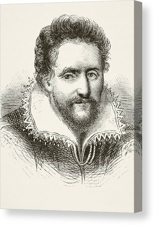 Renaissance Canvas Print featuring the drawing Ben Jonson 1572 To 1637. English by Vintage Design Pics