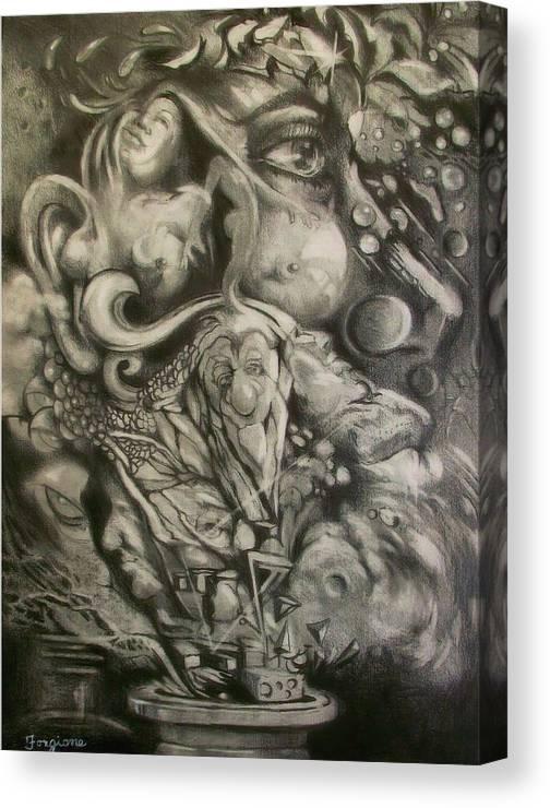 Pencil Drwaing Canvas Print featuring the drawing Bottles Of Demons by Tom Forgione