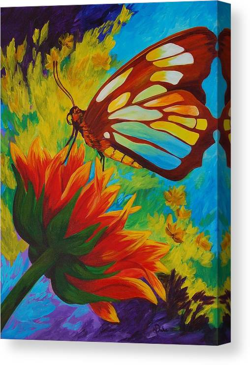 Gerbera Canvas Print featuring the painting Celebrate by Karen Dukes