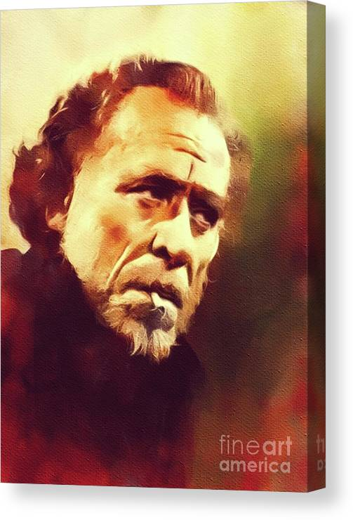 Charles Canvas Print featuring the painting Charles Bukowski, Literary Legend by John Springfield