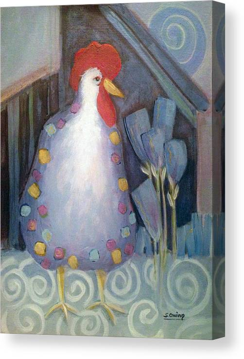 Chicken Canvas Print featuring the painting Chicken In My Garden by Shane Guinn