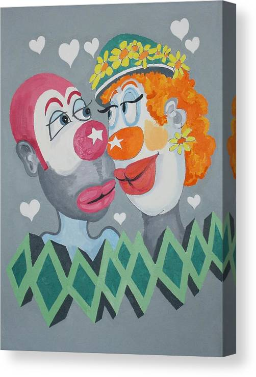 Clowns Canvas Print featuring the painting Clown Ten by Frank Parrish