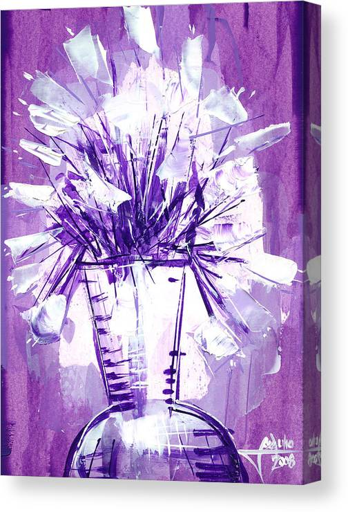 Oil Bristol Paper Abstract Reperesentative Modern Flowers Impresionism Art Painying Canvas Print featuring the painting Flowery Purple II by Jose Julio Perez