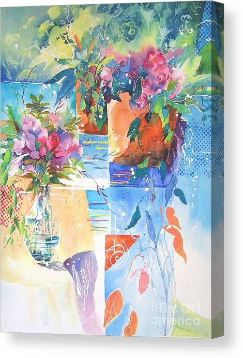 Abstract Paintings Canvas Print featuring the painting Garden Pool by John Nussbaum