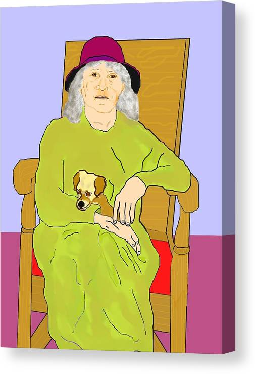 Grandmother Canvas Print featuring the painting Grandma And Puppy by Pharris Art