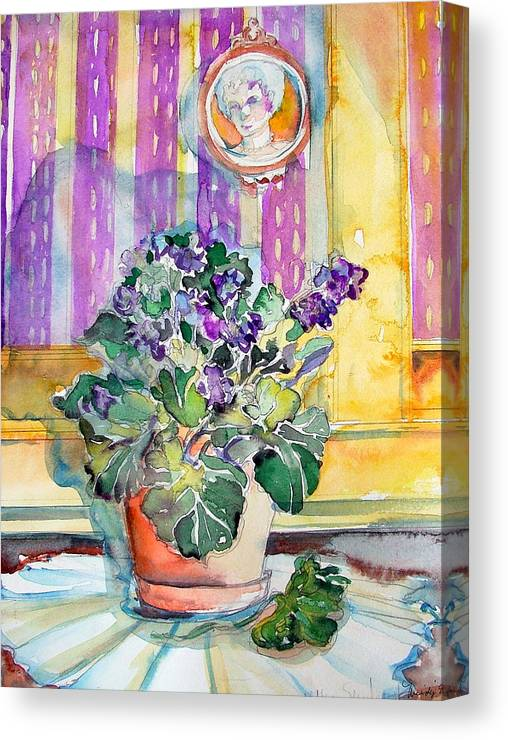 Violets Canvas Print featuring the painting Grandmas' Violets by Mindy Newman
