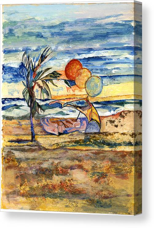 Seascape Canvas Print featuring the painting Group At The Beach by Lily Hymen