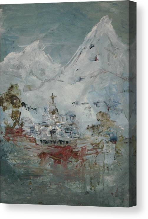 High In The Mountain Country Canvas Print featuring the painting High In The Mountains by Edward Wolverton