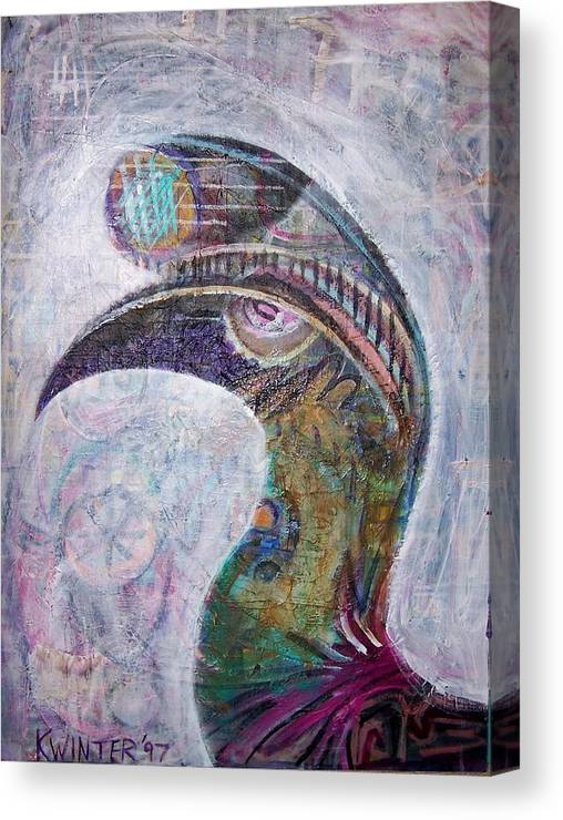Bird Canvas Print featuring the mixed media Hornbill by Dave Kwinter