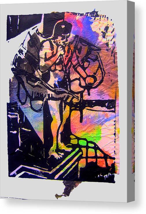 Lino Icarus Birdman Print Canvas Print featuring the mixed media icarus III by Adam Kissel