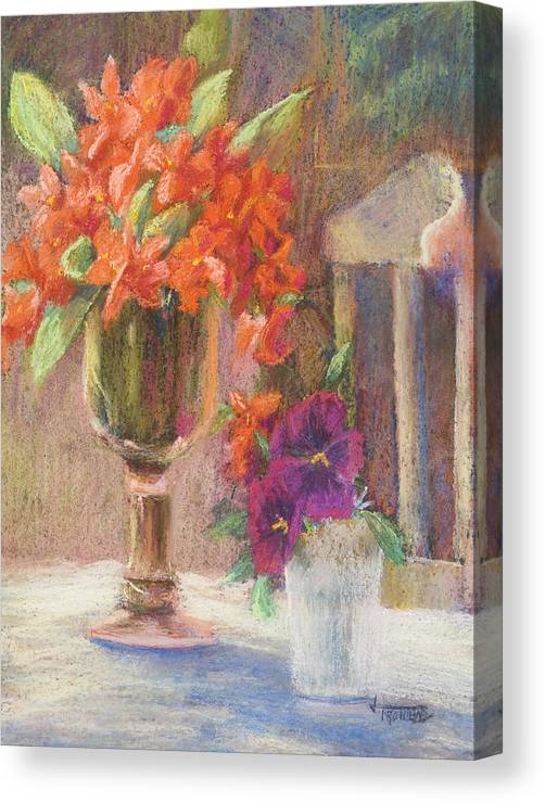 Still Life Canvas Print featuring the painting Indian Hawthorn With Pansys by Jimmie Trotter