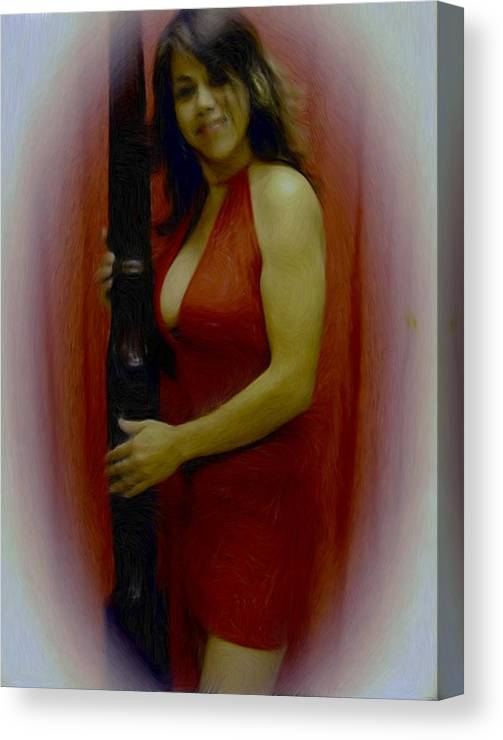 Digital Painting Canvas Print featuring the painting Lady In Red by Maribel McIntosh