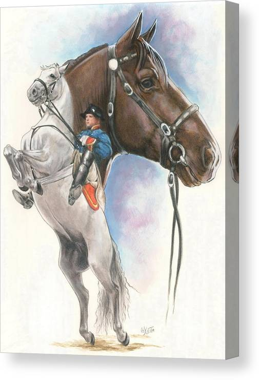 Spanish Riding School Canvas Print featuring the mixed media Lippizaner by Barbara Keith