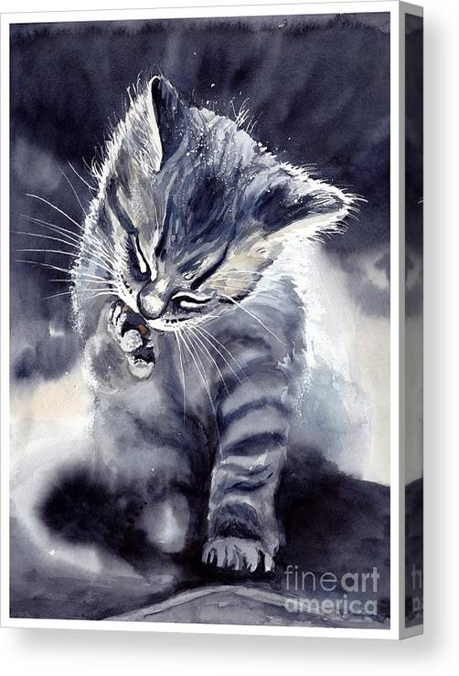 Little Canvas Print featuring the painting Little Grey Cat by Suzann Sines