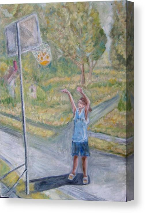 Basketball Landscape Portrait  Canvas Print featuring the painting Making The Point by Joseph Sandora Jr