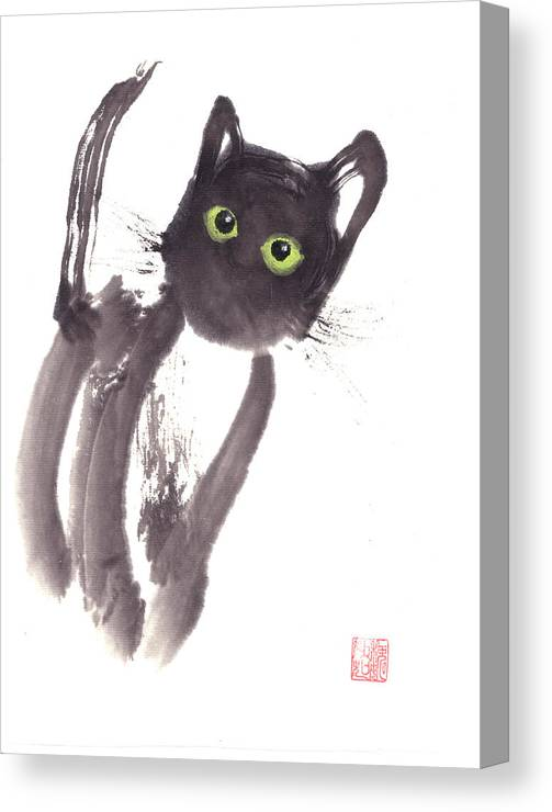 A Curious Black Kitten. This Is A Contemporary Chinese Ink And Color On Rice Paper Painting With Simple Zen Style Brush Strokes.  Canvas Print featuring the painting Midnight by Mui-Joo Wee