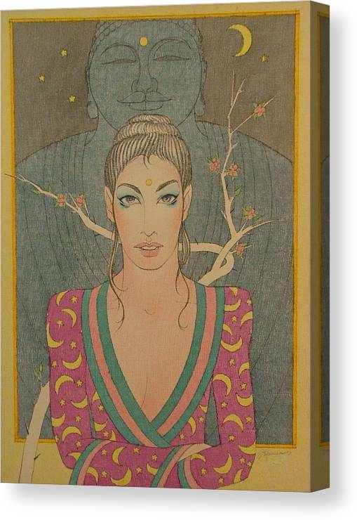 Female Canvas Print featuring the painting Mystical Smile by Gary Kaemmer