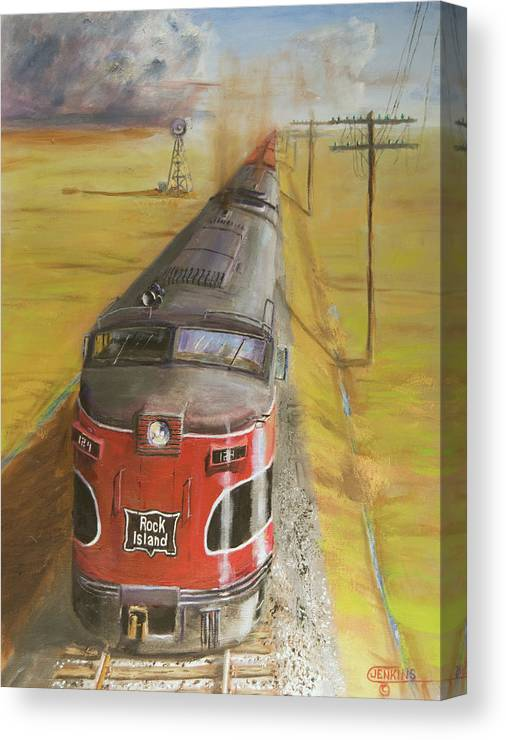 Train Canvas Print featuring the painting Near Thistle Ks by Christopher Jenkins