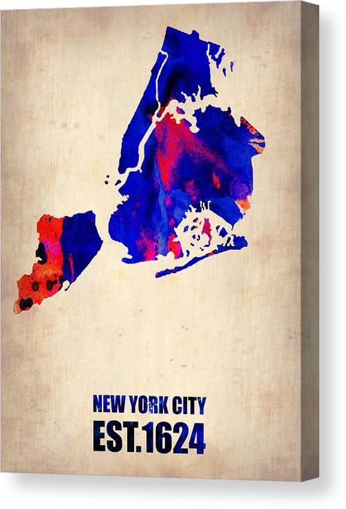 New York City Canvas Print featuring the digital art New York City Watercolor Map 1 by Naxart Studio