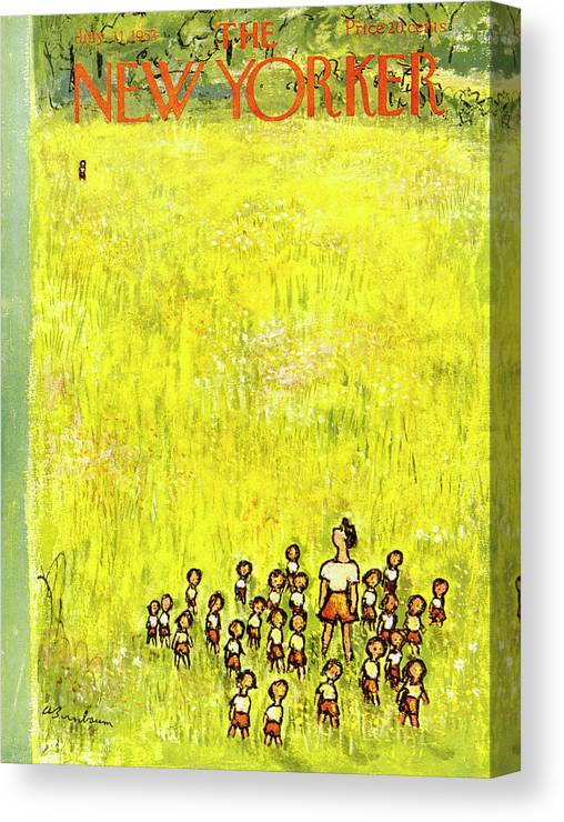 Children Canvas Print featuring the painting New Yorker July 11 1953 by Abe Birnbaum