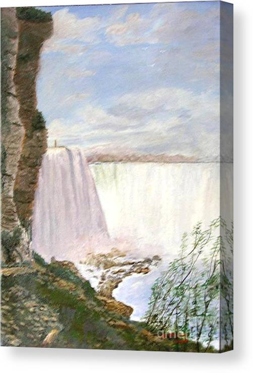 Landscape Painting Niagra Falls Canvas Print featuring the painting Niagara Falls by Nicholas Minniti