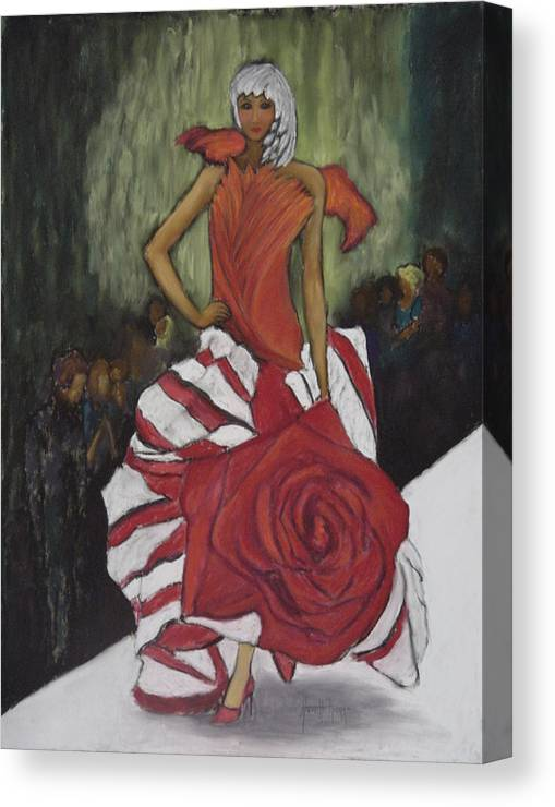 Fashion Show Canvas Print featuring the painting On The Runway by Annette Kagy