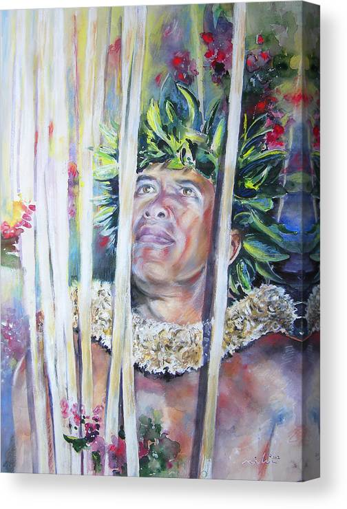Polynesia Canvas Print featuring the painting Polynesian Maori Warrior With Spears by Miki De Goodaboom