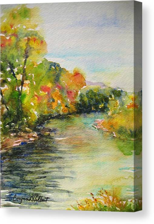 River Canvas Print featuring the painting Poudre Riverbend by Corynne Hilbert