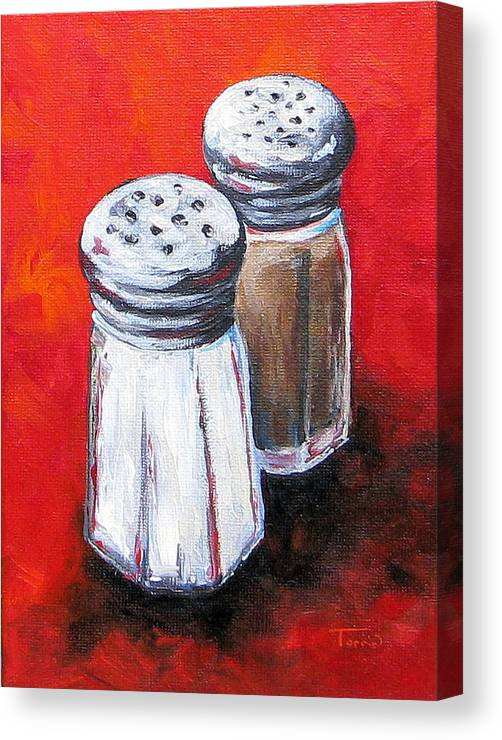 Red Canvas Print featuring the painting Salt And Pepper On Red by Torrie Smiley