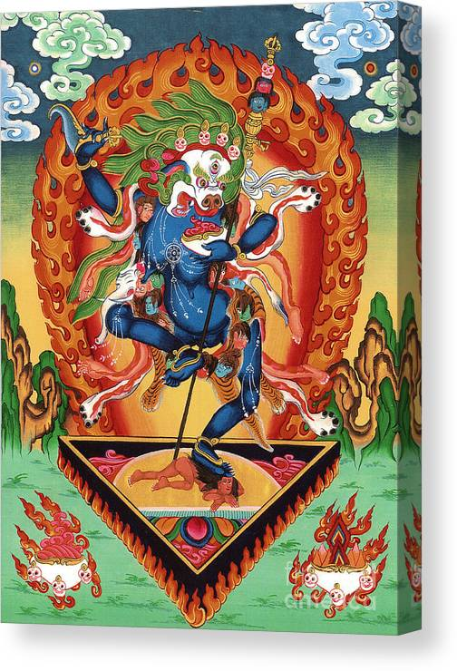Thangka Canvas Print featuring the painting Simhamukha - Lion Face Dakini by Sergey Noskov