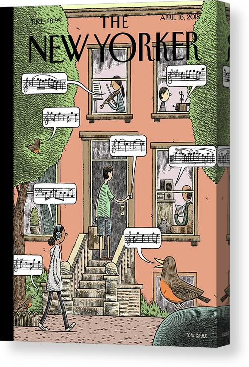 Soundtrack To Spring Canvas Print featuring the drawing Soundtrack To Spring by Tom Gauld