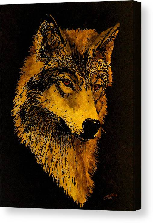 Wolf Canvas Print featuring the painting Spirit Wolf by John Guthrie