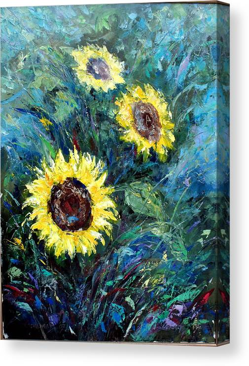 Sunflowers Canvas Print featuring the painting Sunflowers by Emmanuel Gamonez