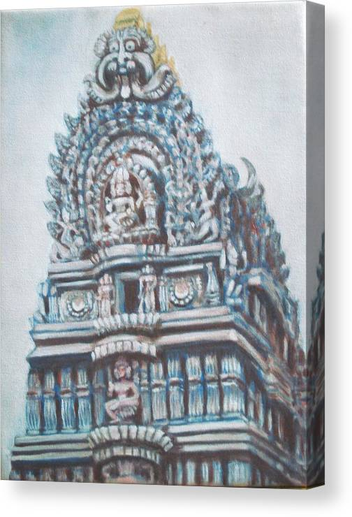 Temple Canvas Print featuring the painting Temple by Usha Shantharam
