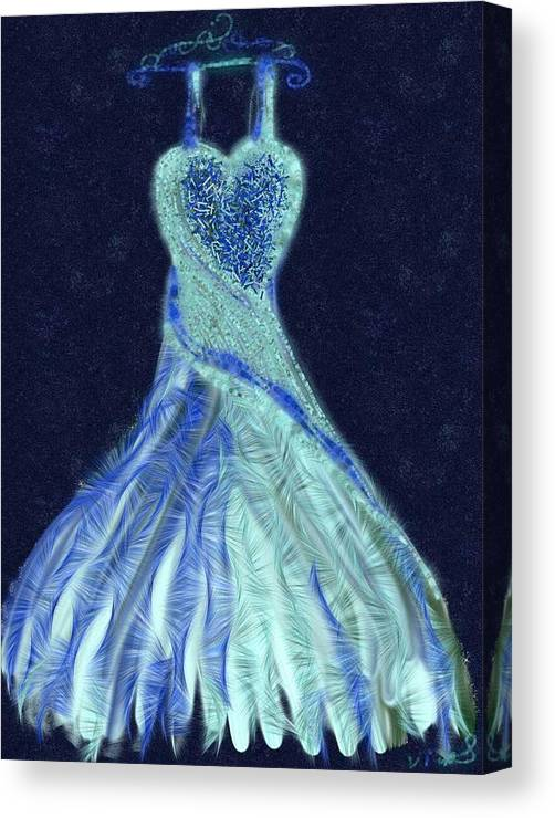 Blue Canvas Print featuring the digital art The Blue Dress by Vanesse Smal