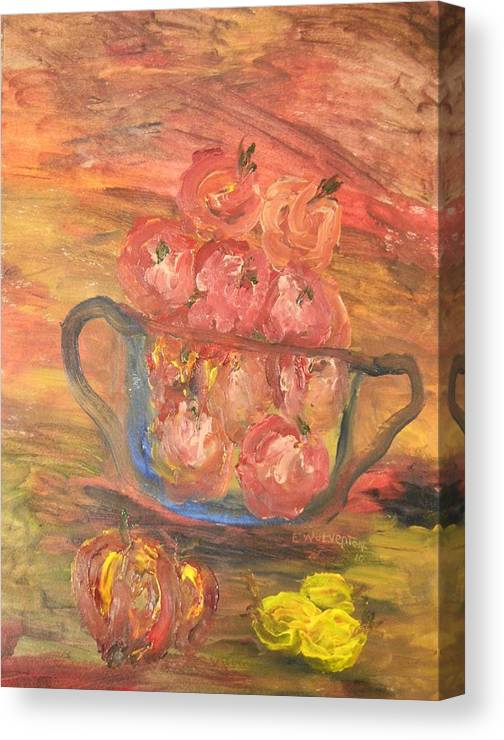 A Fruit Bowl In Evening Sunlight Canvas Print featuring the painting The Fruit Bowl In Evening Glow by Edward Wolverton