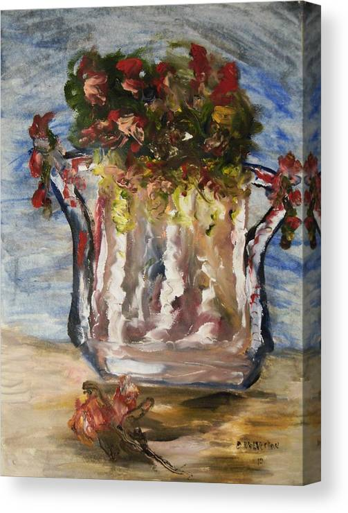 Flowers In An Old Milk Can Canvas Print featuring the painting The Milk Can Vase by Edward Wolverton
