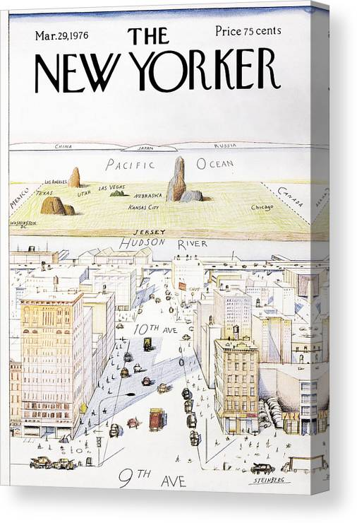 Saul Canvas Print featuring the photograph View From 9th Avenue by Saul Steinberg