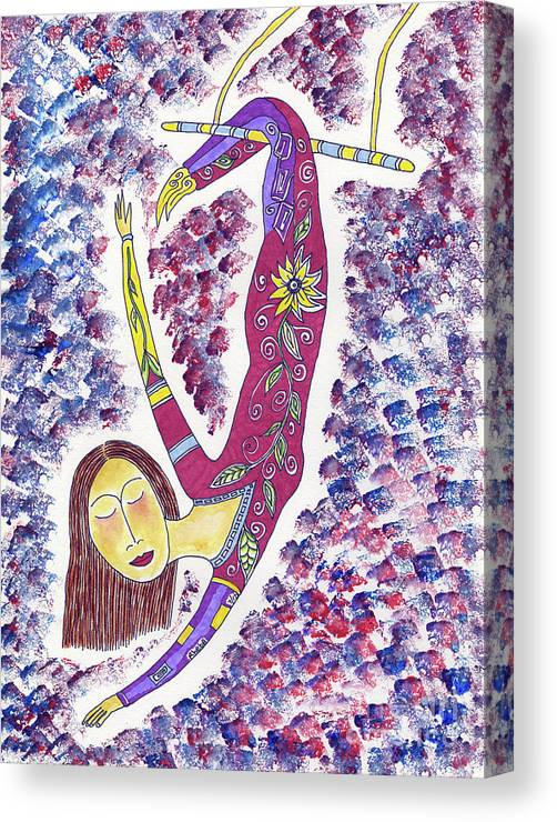 Trapeze Canvas Print featuring the painting Trapeze by Rheba McMichael