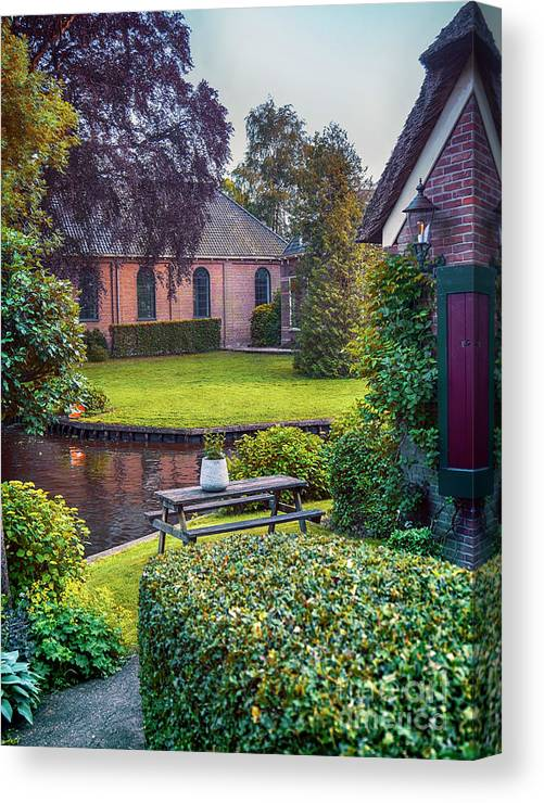 Water Canvas Print featuring the photograph View At Old Church In Dutch Village by Ariadna De Raadt