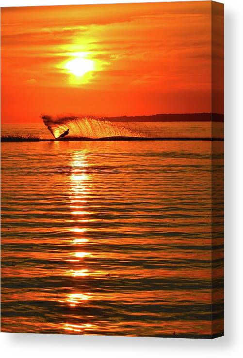 Abstract Canvas Print featuring the photograph Water Skiing At Sunrise by Lyle Crump