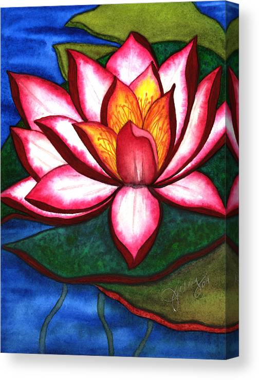Watercolor Canvas Print featuring the painting Waterlily by Stephanie Jolley