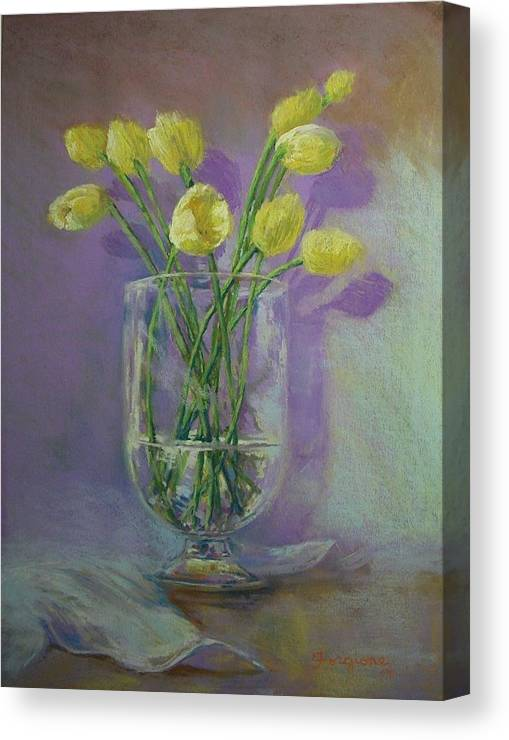 Pastels Canvas Print featuring the pastel Yellow Tulips In A Glass by Tom Forgione