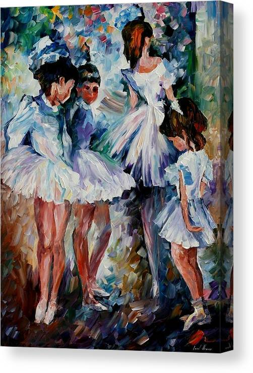 Afremov Canvas Print featuring the painting Young Ballerinas by Leonid Afremov